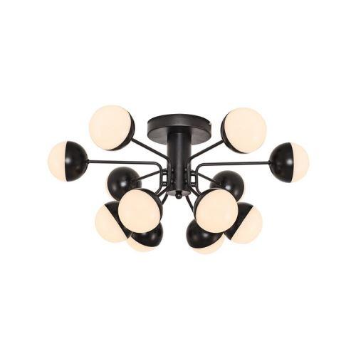 HOMEMANIA Lampe de Plafond Kosmos Plafonnier - à Sphère - Murale - Noir en Métal, 64 x 64 x 30 cm, 12Led x Max 60W, 6000Lumen, 3000K Lumière Blanc Naturel