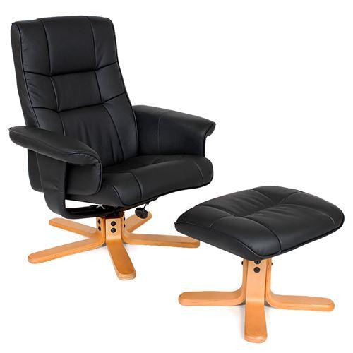 TecTake Fauteuil relax avec pied en croix - noir/beige