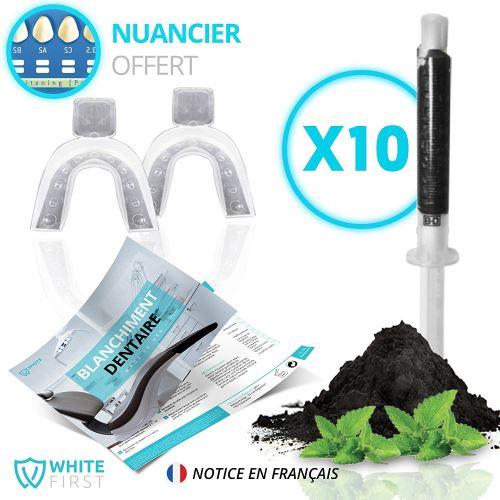 Kit blanchiment dents - 10 recharges gel blanchiments des dents parfum Charbon Actif & Menthe fraîche - White First