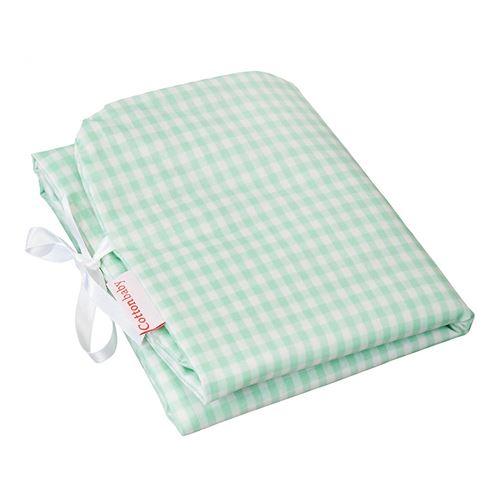 Cottonbaby matelas à langer en coton 30 x 59 cm vert menthe à carreaux