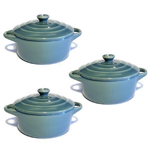 Lot de 3 mini cocottes grises double poignée avec couvercle Hobby Cook