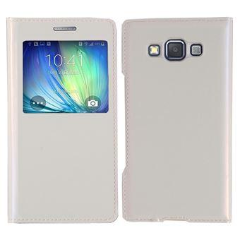 Housse Coque flip cover View case pour Samsung Galaxy A5 SM-A500F/ A5 Duos - BLANC