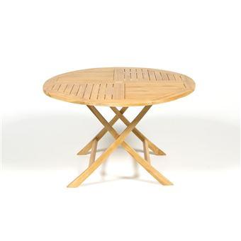 Table de jardin ronde pliante teck C FSC dia. 120cm marron ...