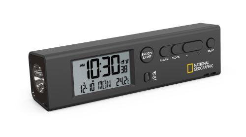 NATIONAL GEOGRAPHIC 4en1 Horloge mondiale Réveil de Voyage Thermomètre et Lampe de Poche
