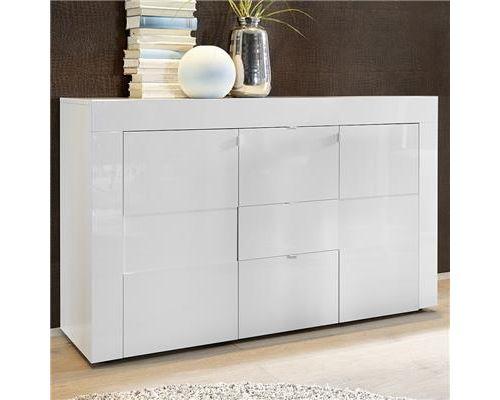 Bahut blanc laqué brillant design OKLAND 3 - Blanc - L 138 x P 42 x H 84 cm