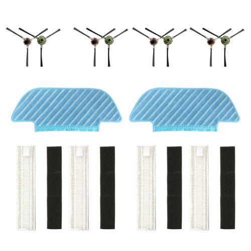 Filtre De Groupe , Paire Side Brush , Vadrouille Pour Balayeuses Ecovacs Ozmo Slim 10 Blanc W129