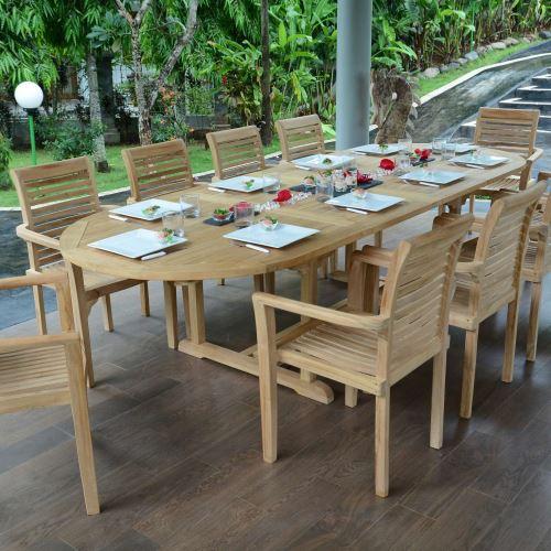 Salon de jardin en teck qualité ecograde venise, 10/12 places
