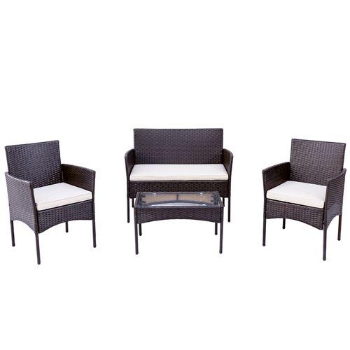 Ensemble de canapé de salon AEE Canapé table basse fauteuils 3 places marron