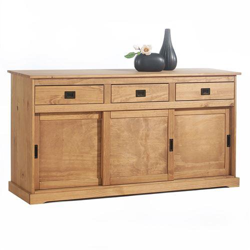 Buffet SAVONA en pin massif, 3 tiroirs et 3 portes, lasuré brun