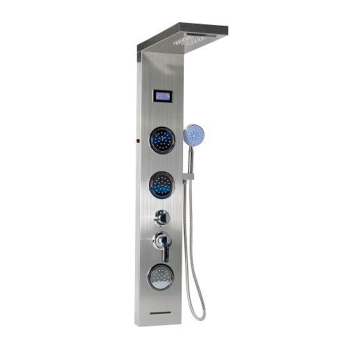 LED Panneau Colonne Douche Multimode Massage Système avec Écran LCD Hauteur 124 cm