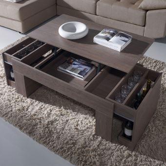 Table basse modulable couleur chêne ISERE 2 - L 110 x P 60 x H 58 cm - Achat & prix   fnac