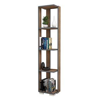 etagere bibliotheque d angle design bois riga l 33 x h 153 cm gris