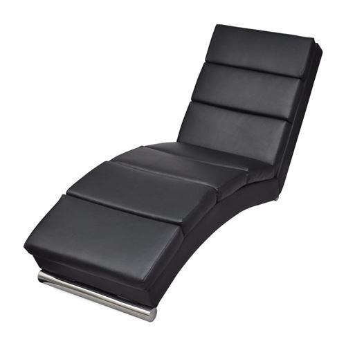 VidaXL Chaise longue Cuir synthétique Noir
