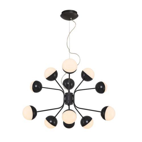 HOMEMANIA Lampe à Suspension Kosmos Chandelier - à Sphère - de Plafond - Noir en Métal, 64 x 64 x 120 cm, 12Led x Max 60W, 6000Lumen, 3000K Lumière Blanc Naturel