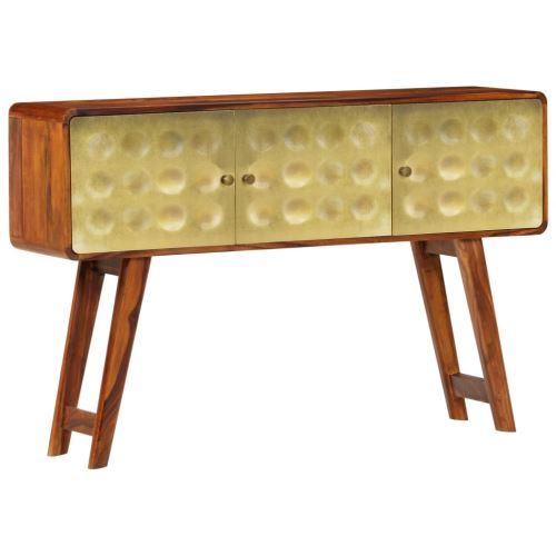 Meelady Buffet Armoire Console Bois de Sesham Solide Imprimé Doré avec 3 Portes de Style Rétro 120 x 30 x 80 cm