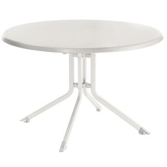 Table ronde pliante en aluminium coloris blanc - Dim :Ø 100 x H 74 ...