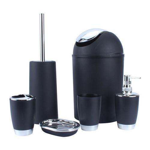 Lot de 6 Accessoires de Salle de Bain Ensemble d'accessoires pour WC Distributeur Port-savon toilette Porte-brosse Tasse