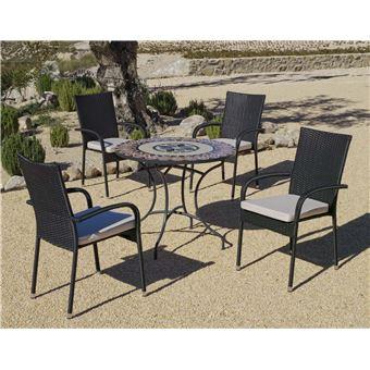 Hevea - Salon de jardin table ronde mosaïque Cambel Ampuria ...