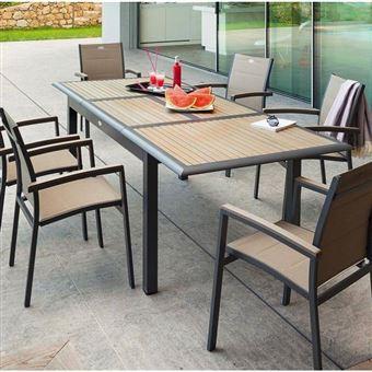 Table Extensible Azua En Bois 10 Personnes Taupe Structure ...