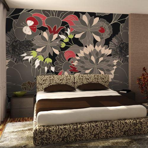 300x231 Papier peint Motifs floraux Fonds et Dessins Stylé motif floral