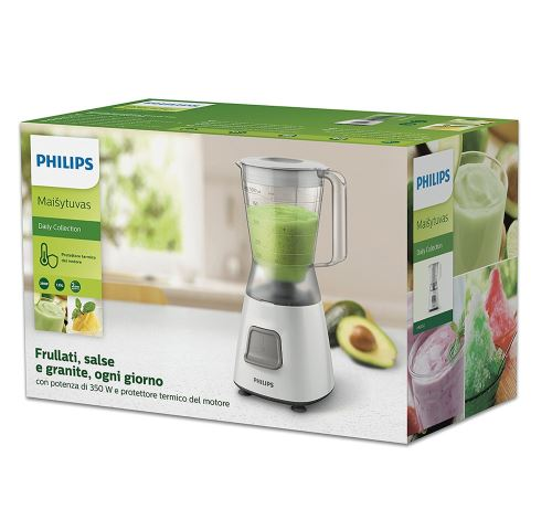 Philips HR2052/00 Blender Daily Basic Blanc 350W 1,2L Bol Plastique 1 Vitesse