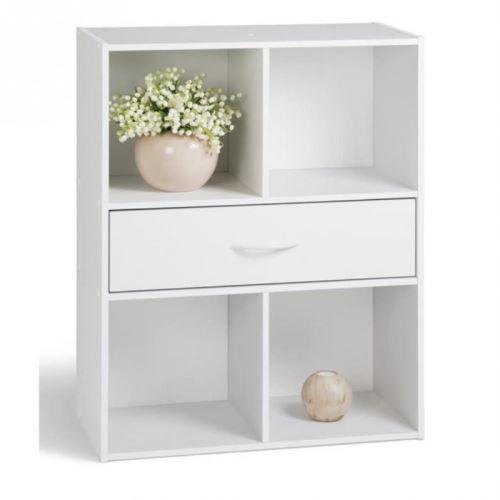 Etagère cube en bois H80cm L61.5cm avec tiroir et niches COMPO - Blanc