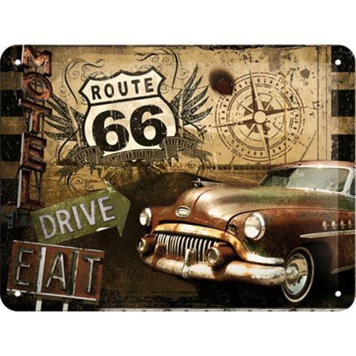 Grande plaque métallique Drive Route 66