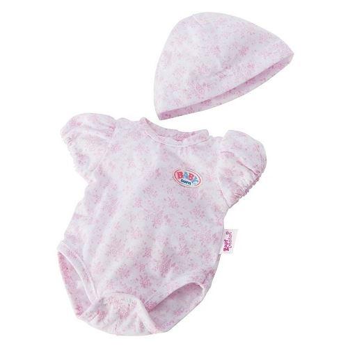 Set body a fleurs roses + bonnet pour poupon 43 cm baby born (ref.za03)