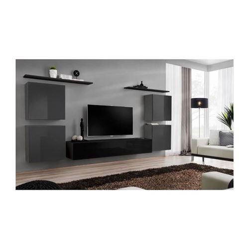 Ensemble meuble salon SWITCH IV design, coloris noir et gris brillant.