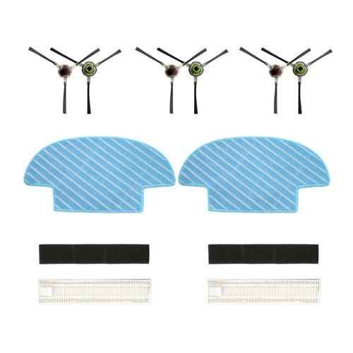 Filtre De Groupe , Paire Side Brush , Vadrouille Pour Balayeuses Ecovacs Ozmo Slim 10 Blanc W130