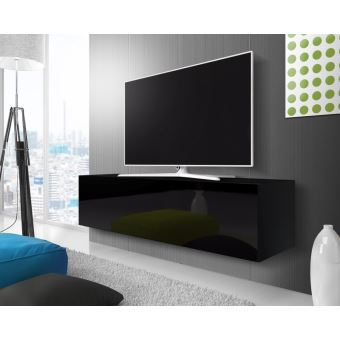point meuble tv suspendu 140 cm noir mat noir. Black Bedroom Furniture Sets. Home Design Ideas