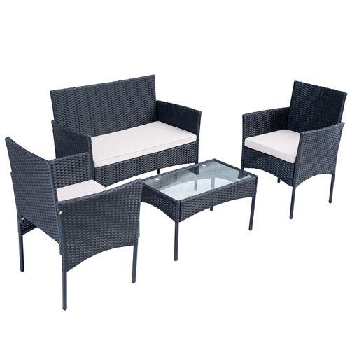 Ensemble de canapé de salon AEE Canapé table basse fauteuils 3 places noir