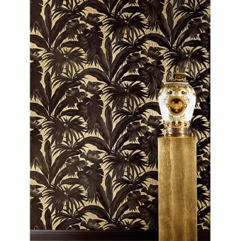 Versace Giungla Palm Feuilles Papier Peint Noir Et Or 96240 1