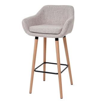 Tabouret Chaise De Bar.2x Tabouret De Bar Malmo T381 Chaise Bar Comptoir Tissu Creme Gris