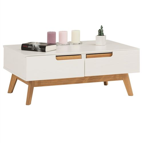 Table basse TIBOR, 2 tiroirs et 2 niches, lasuré blanc