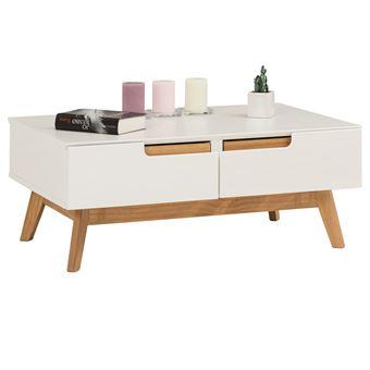 Table Basse Tibor Style Scandinave Design Vintage Nordique Table De Salon Rectangulaire 2 Tiroirs 2 Niches Pin Massif Lasure Blanc