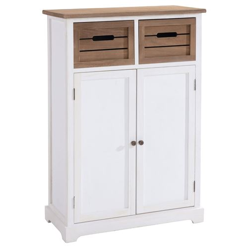 Buffet CORNELIA commode avec 2 caisses de rangement et 2 portes, en bois de paulownia blanc et brun style maison de campagne