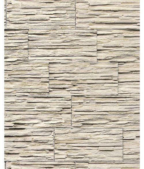 Papier peint quartzite ardoise en relief 1003-33 vinyle très résistant aspect pierre gris brun clair | 5,33 m2