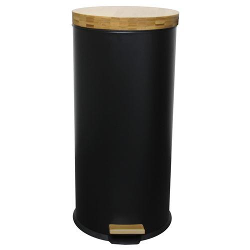 Poubelle de cuisine à pédale FOREST noir en bois et acier 30L