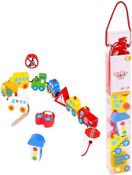 Tooky Toy jeu de blocs Traffic 31 x 4 x 4 cm bois 12 pièces
