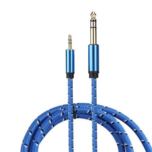 Câble audio 3.5mm stéréo mâle à 6.35mm stéréo ligne audio mâle pour guitare électrique 3M