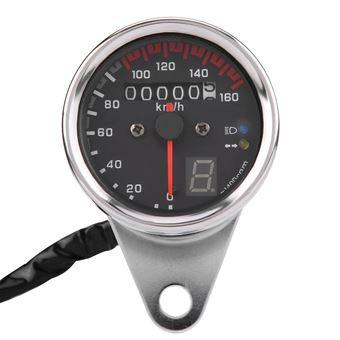 Jauge Compteur Vitesse Compteur Kilométrique Lumière Moto Universelle Noire LED