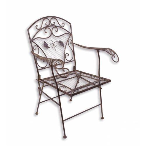 L'Héritier Du Temps - Fauteuil de jardin chaise siège de salon de jardin à 2 accoudoirs banquette extérieure pliable 1 place en fer marron 51x72x95cm