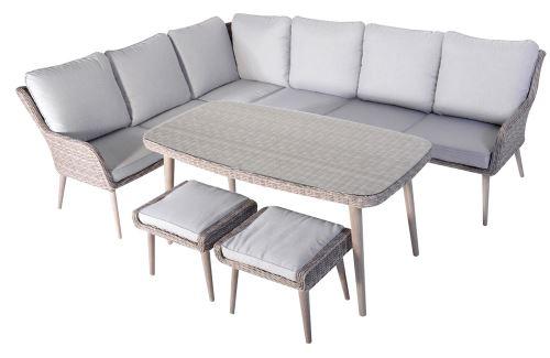 Salon de jardin de 5 pièces coloris gris / beige -PEGANE-