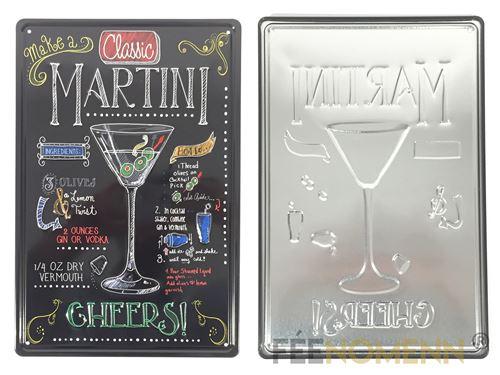 plaque métal déco vintage - effet relief - recette cocktail martini façon ardoise (20x30cm)
