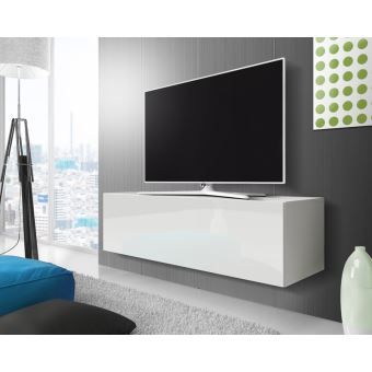 Point Meuble Tv Suspendu 140 Cm Blanc Mat Blanc Brillant
