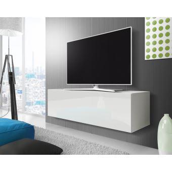 point meuble tv suspendu 140 cm blanc mat blanc brillant achat prix fnac. Black Bedroom Furniture Sets. Home Design Ideas