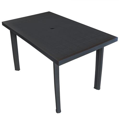 Table de jardin 126 x 76 x 72 cm Plastique Anthracite