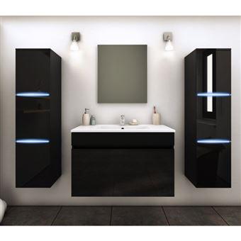 Meuble De Salle De Bain Simple Vasque 80 Cm 2 Colonnes Avec Led Noir Lazia