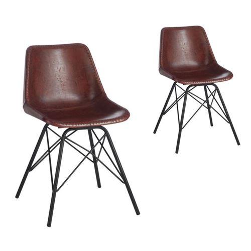 Duo de chaises Simili cuir Marron - URANUS